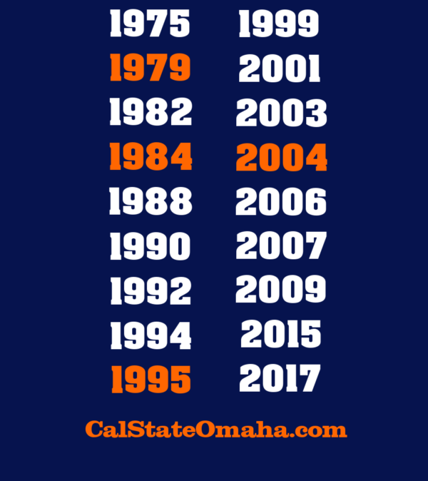 Back of Cal State Omaha Navy blue shirt