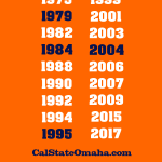 Back of Cal State Omaha orange shirt