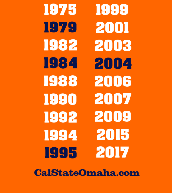 Back of Cal State Omaha orange shirt