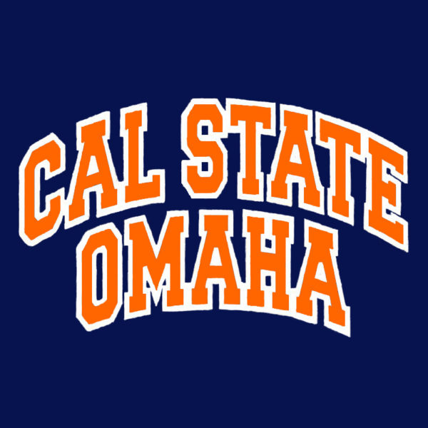 Front of Cal State Omaha Navy blue shirt
