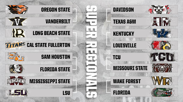 2017 NCAA Baseball Super Regional Field