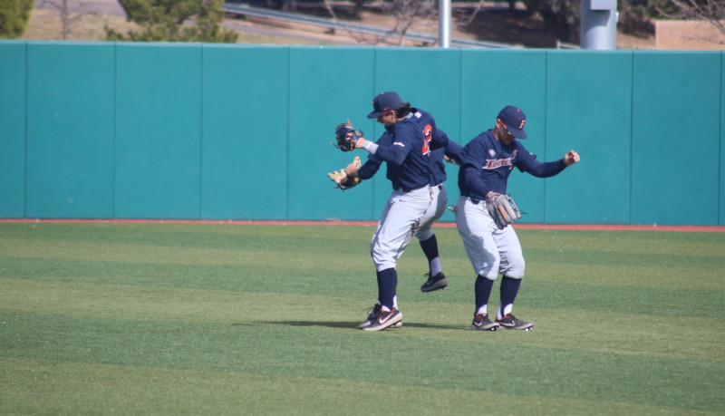 Titan Outfielders Jumping