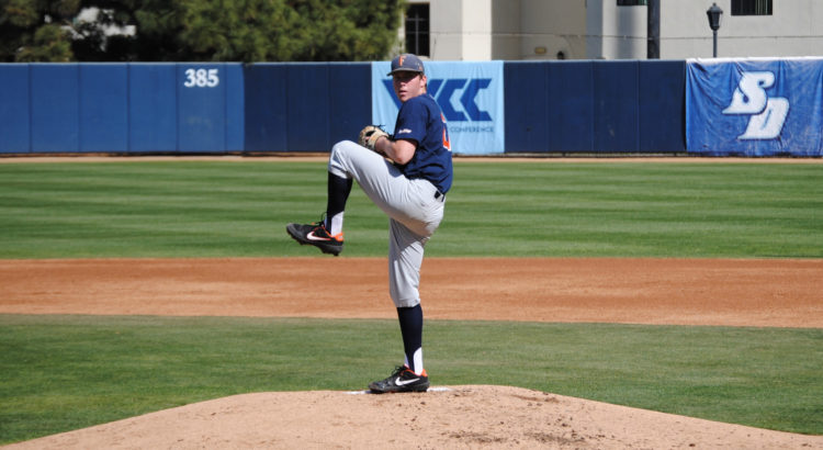 Kyle Luckham pitching vs USD